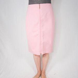 ST. JOHN Pink Pencil Zipper Skirt 0041